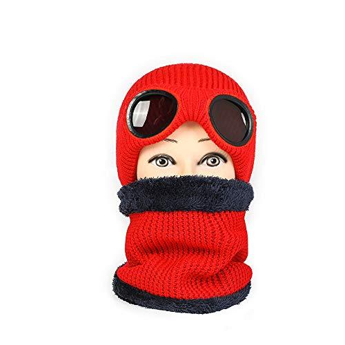JXFM Winter vrouwelijke wol outdoor fietsen winddicht oorbeschermers mannelijk warme muts met winddichte bril en fluweel dikke hoed rood