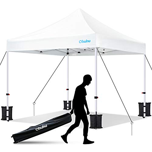 Ohuhu EZ Pop Up Canopy Tent, 10x10 FT Commercial Instant Shelter with Roller Bag, Reinforced-Frame Canopies Bonus 4 Canopy Sand...