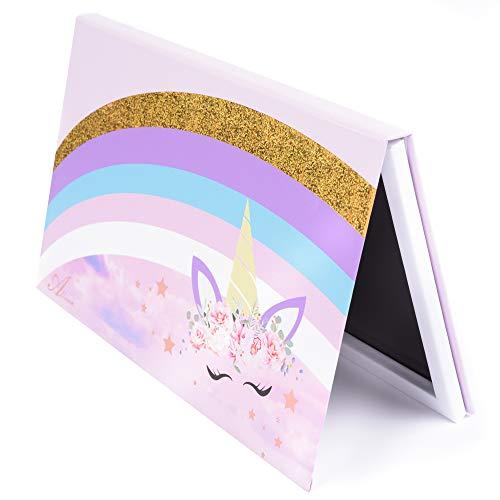 Allwon Tavolozza magnetica Tavolozza vuota per unicorno con 30 pezzi Tavolozza vuota adesiva Adesivi in metallo per ombretto Rossetto Fard in polvere