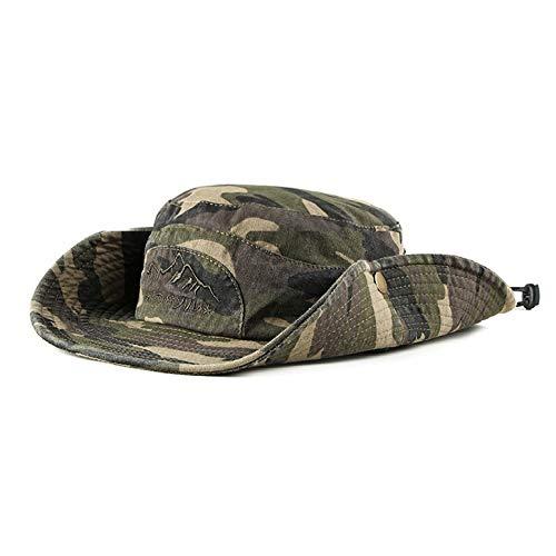 ALIXIN-Caza en la Jungla Escalada al Sombrero de Vaquero de Camuflaje,Sombrero ala Ancha de Verano Protección UV para la Playa Sombrero a Prueba de Ducha,Sombrero Pescador de Transpirable. (Marrón)