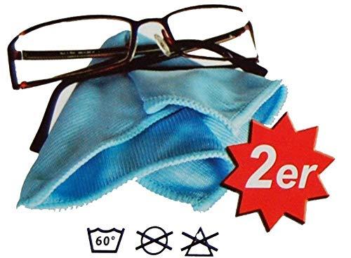 M&H-24 Brillenputztuch aus Microfaser Brillentuch Microfasertuch Reinigungstuch für Brillen, Displays, Bildschirm, Helmvisier, Laptop, Handy etc. Brillenputztücher 15 x 20 cm Blau 4 Brillentücher