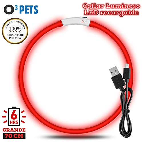 O³ PETS Collar Luminoso Perro Recargable – 3 Colores Disponibles Collar Adiestramiento USB Ajustable Recargable Impermeable LED (Rojo)