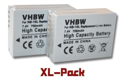 2 x vhbw Li-Ion Akku Set 700mAh für Canon PowerShot G3x wie NB-10L.