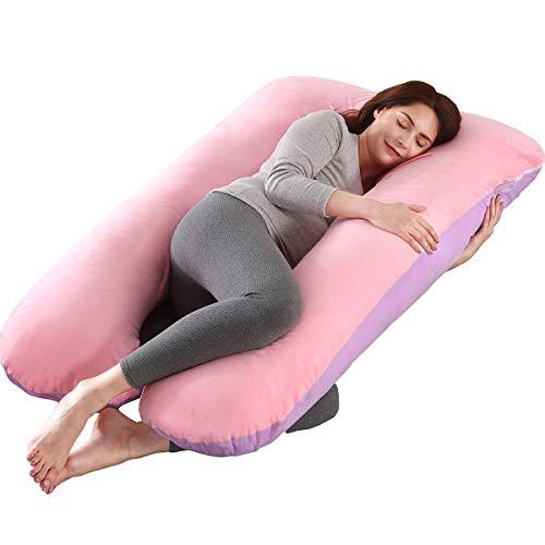 SHANNA Almohada de Embarazo, Almohada de Cuerpo Completo con Forma de U Grande, 100% algodón con Funda de Terciopelo reemplazable y Lavable para Dormir y Alimentar, 70 x 145 cm Gris (Rosa+Púrpura)