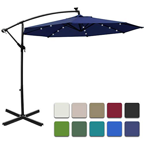 Mefo garden 10ft Solar Patio Outdoor Umbrella Offset Cantilever Hanging Umbrella 360 Degree Rotation with 24 LED Lights and Heavy Duty Steel Cross Base,Navy Blue
