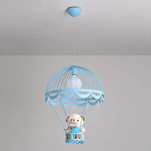 Apliques Pared Lámparas de los niños, muchacha del muchacho del globo del hierro decoración romántica del oso lindo lámpara colgante nórdica Cafe Nursery Mesa de comedor iluminación pendiente azul