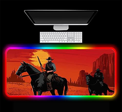 Juego Red Dead Redemption Alfombrilla de Ratón para Juegos Alfombrilla Grande para Teclado de Computadora RGB LED Player Game Laptop Notebook Pc Alfombrilla de Escritorio, 600X300X4 mm
