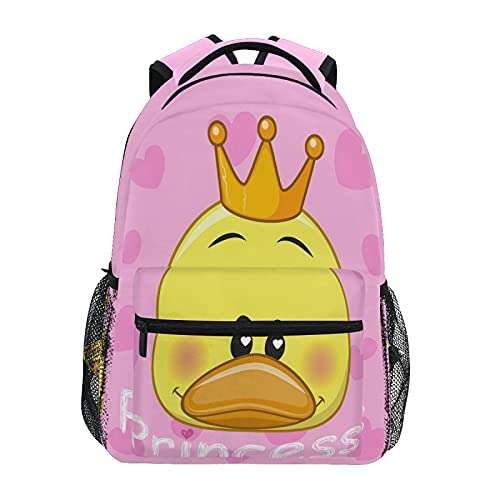 Mochila de viaje con diseño de orejas de pato de princesa, color rosa, para estudiantes, mochila de 14 pulgadas, mochila de viaje, bolsa de hombro para niños y niñas