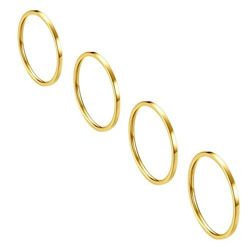 ALEXTINA Damen Edelstahl 1MM Dünn Gold Midi Stacking Ringe Set of 4 Komfort Passen