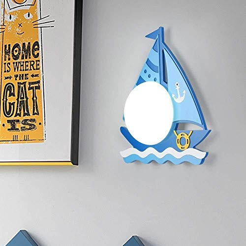 Wandleuchte Wandleuchte Wandleuchte hell Boot Nachttisch Kinderzimmer Bett Gang Balkon Schlafzimmer Junge Mädchen Kreative LED-Lampen 39 * 28 cm Blau Wand Wash Lights