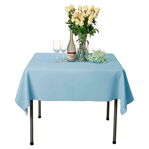 VEEYOO Square Tablecloth - 54x54 Inch Polyester Table Cloth Washable Wrinkle Free Dinner Tablecloth for Wedding, Party, Restaurant,Indoor and Outdoor Buffet Table - Baby Blue Tablecloth