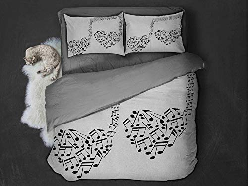 Toopeek Music 3-pack (1 duvet cover and 2 pillowcases) Big Abstract Musical Note with Smaller Ones and Heart Shape Details Love of Art Polyester (King) Black and White