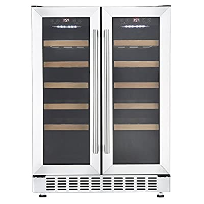Cookology CWC609SS Stainless Steel 60cm Undercounter Dual Zone Wine Cooler from ookology