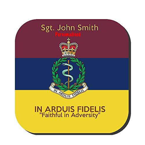 """HQ Gift Ideas Royal Army Medical Corps RAMC Premium - Posavasos personalizable con imagen del cuerpo en colores atados con el lema en Arduis Fidelis """"Faithful in Adversity"""