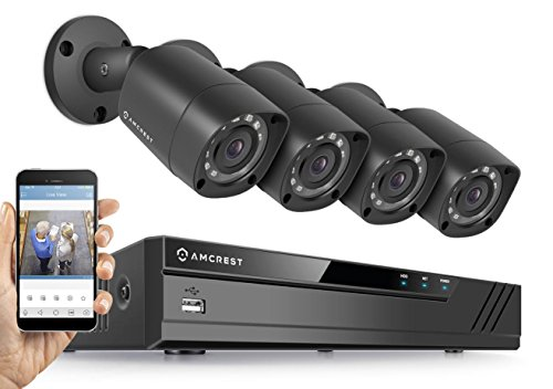 Amcrest HD 1080P-Lite / 720P 8CH Video Security System w/ Four 1.0 Megapixel IP67 Outdoor Bullet Cameras, 65ft Night Vision, 1TB HDD, (REP-AMDV7218-4B-B) (Certified Refurbished)