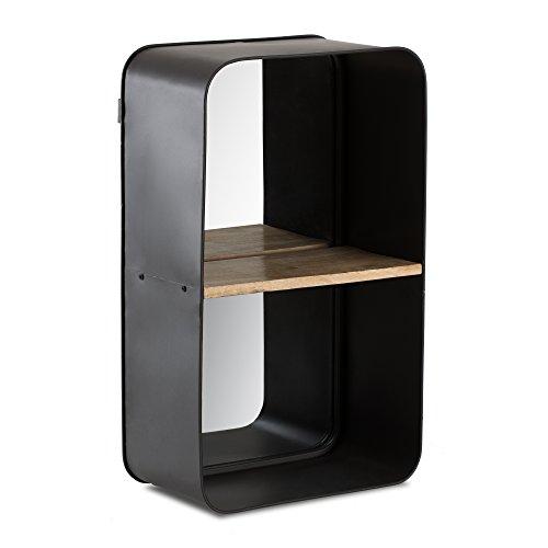 Madeleine Home Toldeo Wandgemonteerde Zwevende Plank met Spiegel | Accent Display Storage Ledge met Zwart Frame | Handgemaakt Decor Plank voor Keuken, Woonkamer, Slaapkamer, Kantoor