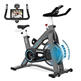 L NOW Indoor Exercise Bike Indoor Cycling Stationary Bike, Belt Drive with Heart Rate, Adjustable Seat and Handlebar, Tablet Holder, Stable Quiet and Smooth for Home Cardio Workout(D600) (D606-12)