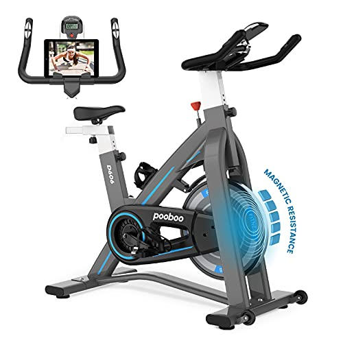 L NOW Indoor Exercise Bike Indoor Cycling Stationary Bike, Magnetic resistance, Belt Drive, Heart Rate, Adjustable Seat and Handlebar, Tablet Holder, Stable and Quiet for Home Cardio(D606-11)