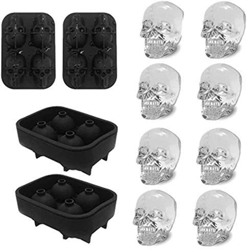 3D Skull Ice Mold-2Pack,Easy Release Silicone Mold,8 Cute and Funny Ice Skull for Whiskey,Cocktails...
