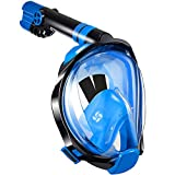WSTOO Full Face Snorkeling Mask,Newest Upgrade 180 Panoramic Foldable Snorkeling Mask, Anti-fog Anti-leak with Detachable Camera Mount for Adult and Kids Safety Snorkeling (Style A - Blue, L/XL)