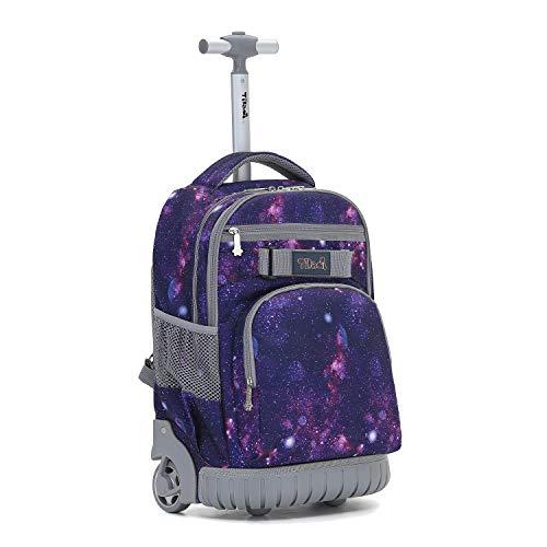 Tilami Rolling Backpack 19 inch Wheeled LAPTOP Boys Girls Travel School Student Trip, Universe Star