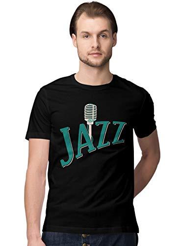 BLAK TEE Hombre Jazz with a Microphone Illustration Camiseta L