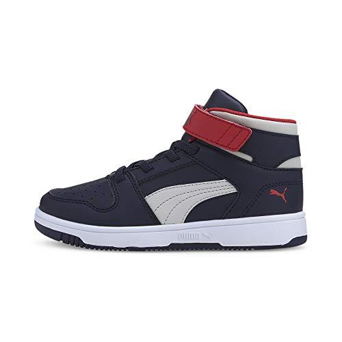 Puma Unisex-Kinder Rebound Layup Sl V Ps Sneaker, Peacoat-Gray Violet-High Risk Red White, 32 EU