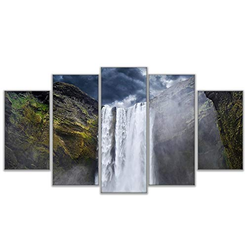5 Canvas paintings Canvas Poster Home Decor Living Room Wall Dark Clouds Waterfall Landscape Art Painting HD Printed Pictures Frameless