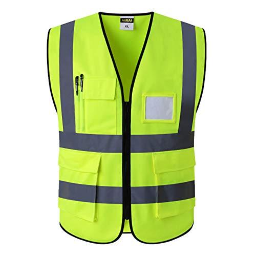 La seguridad Alta visibilidad Chaleco amarillo Ropa de trabajo reflectante de seguridad para correr de noche Hombre ciclista Advertencia nocturna Ropa de trabajo Fluorescente Ligero