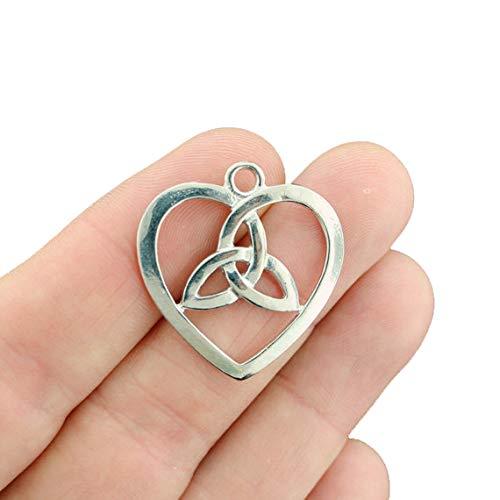 BULK 20 Celtic Knot Heart Silver Tone Charms 2 Sided - SC526