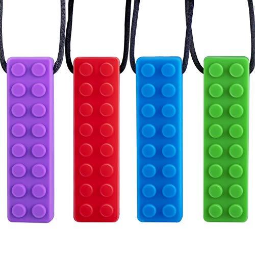 LITSPOT Beißring Kauen Halskette Silikon Zahnen Anhänger, 4 Stück Bunte Kauen Spielzeug für Training Entwicklung Beruhigung Kinder Chew Toys für Autismus, ADHS, Babys Sensorische Oral Motor, Angst