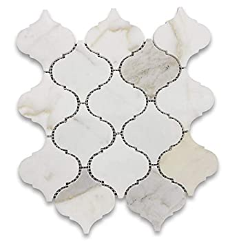 Stone Center Online Calacatta Gold Marble Grand Arabesque Baroque Lantern Mosaic Tile Honed for Kitchen Backsplash Bathroom Flooring Shower Surround Dining Room Entryway Corrido Spa  1 Sheet
