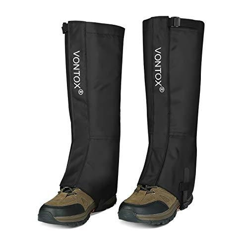 V VONTOX Outdoor Gamaschen (L), wasserdichte Wander Gamaschen Verstellbare Oxford für Frauen und Männer, für Radfahren Snowboarden Wandern (Klettverschluss)