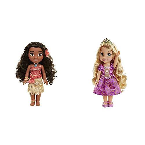 Glop Games- Princesa Disney, muñeca Vaiana con Todo Lujo de Detalle. Fíjate en su Pelo, Vestido, Flor de Polinesia Toddler 35cm, 38 cm (04703) + Jakks pacific uk- Rapunzel Muñeca (6.0)