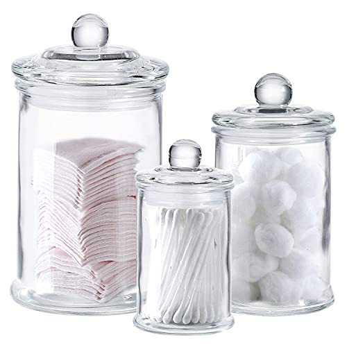 Mini Glass Apothecary Jars-Cotton Jar-Bathroom Storage Organizer Canisters Set of 3