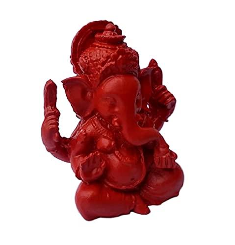 Ganesh Miniatur glücksbringer. Pop Art Deko Roter Figur. Elefant Gott der Glück der Weisheit, der Intelligenz, Beseitigung Aller Hindernisse. Ganesha Talisman. Handgemaltes Harz. Mini Statue H 5 cm