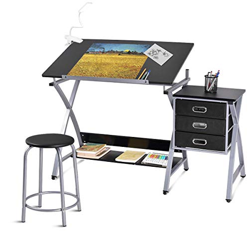 Tangkula Drafting Table Art & Craft Drawing Desk Art Hobby Folding Adjustable w/Stool (Black)