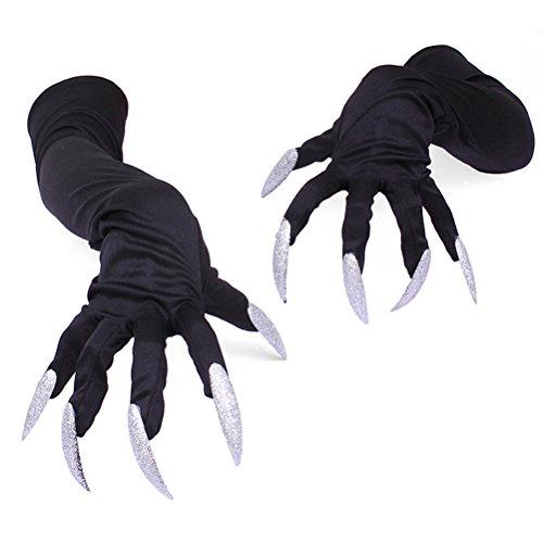 BESTOYARD Gants Halloween Ongles Halloween Party Costume Gants Attachés Longs Ongles, Paquet DE 2 (Noir)