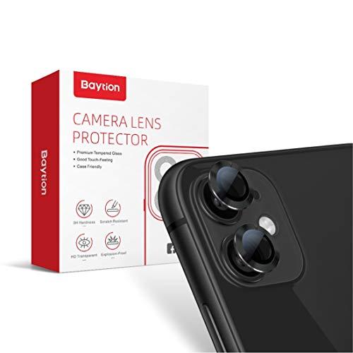 [2 Pack] Protector Cámara iPhone 11, Protector Camera iPhone 11 6.1'' [Alta definición] [Caso amistoso] [Resistencia al Rayado] (en Negro)