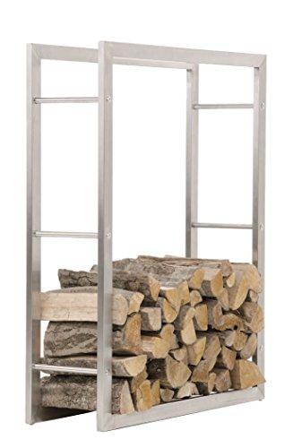 CLP Kaminholzregal KERI aus Edelstahl I Robuster Kaminholzständer mit Bodenschonern I Holzbutler in bis zu 8 Größen wählbar 25 x 100 x 150 cm