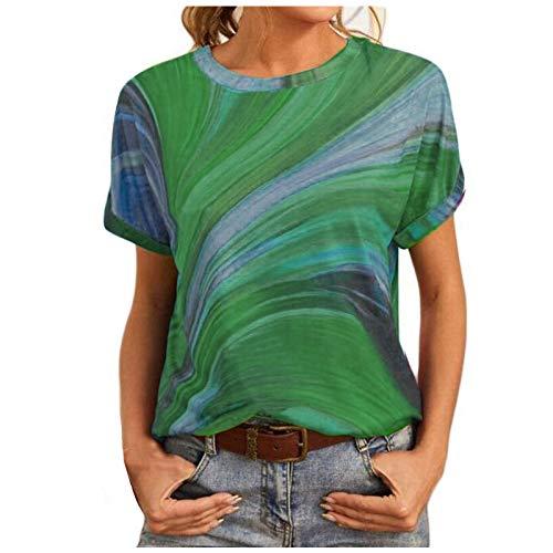 YANFANG Camiseta Suelta De Patchwork con Estampado TeñIdo Anudado Manga Corta para Mujer Blusa Cuello En O Tops,Camisetas Originales,Camisa Verde Mujer,Camisetas Moda,Verde,L