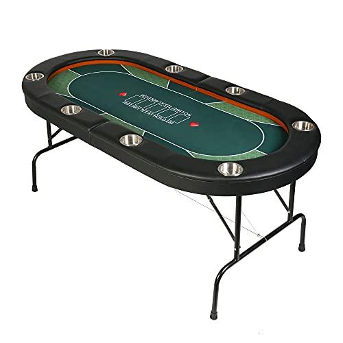 Vilobos Poker Table Foldable, 8 Players Texas Holdem Poker Table, Casino Table for Blackjack Board Game -Green