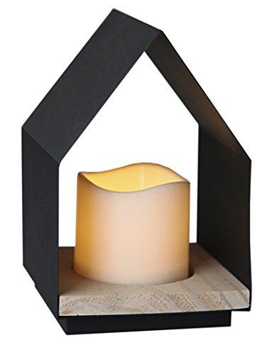 Star 062 – 90 Home lantaarn met LED kaars metaal/hout zwart 12 x 18 cm