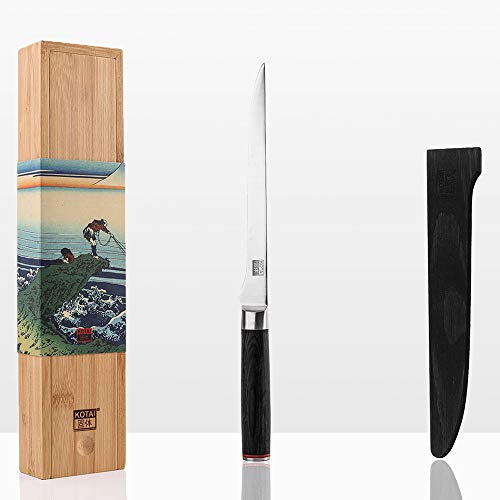 KOTAI - Couteau à Poisson - Filet de Sole - Lame Flexible de 20 cm idéale pour Fileter Le Poisson - Aiguisé à la Main - Acier Inoxydable Japonais 440C Ultra-Tranchant et Manche en Pakkawood