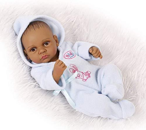 Muñeca de baño para bebé Reborn, Estilo Indio, Piel Negra, simulación Dura, Vinilo de Silicona, 10 Pulgadas, 26 cm, Juguete Infantil Impermeable, niño Azul con Ojos acrílicos