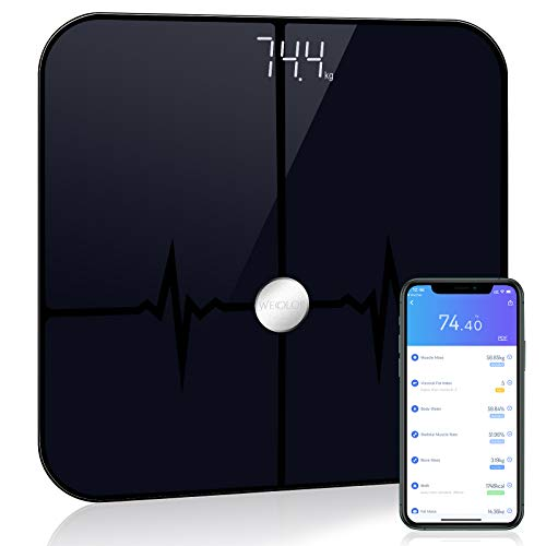 Wecolor Bluetooth Body Fat Scale, Bathroom BMI Weighing Digital Scale, Smart Body Fitness Analysis Scale Sync Data with Smartphone APP