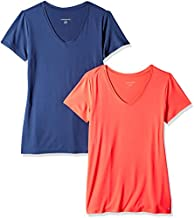Amazon Essentials Women's 2-Pack Tech Stretch Short-Sleeve V-Neck T-Shirt, Bright Pink/Navy, X-Large