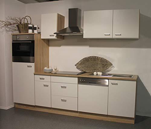 Smart Easy Küchenzeile 270 cm Weiss mit Backofen und autarkem Glaskeramik-Kochfeld