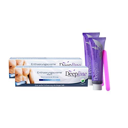 2 X Deepline Haarentfernungscreme für den Mann. Lässt die Haut sanft, geschmeidig und seidig auch intimbereich