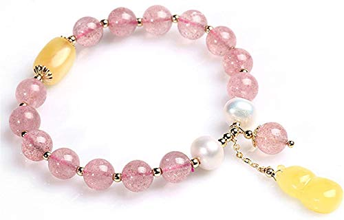 JPSOUP Feng Shui Pulsera Natural Cristal de Fresa Pearl Pearl Beeswax Goldería Joyería Retro Joyería Buena Suerte Fortune Peach Blossom para Las Mujeres